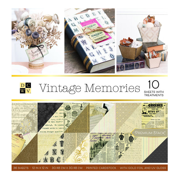 "מארז דפי קארדסטוק ""12 vintage memories"