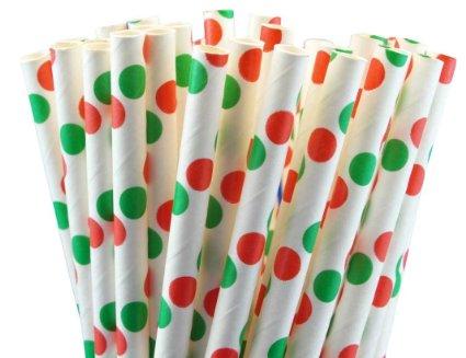 קשיות נייר - לבן עם נקודות ירוקות ואדומות גדולות