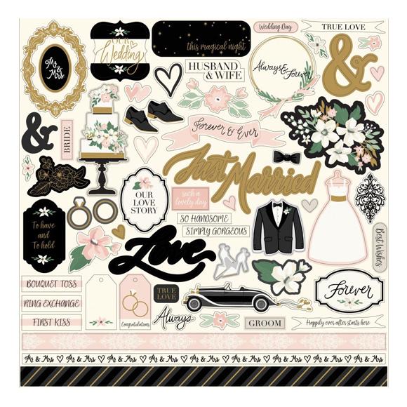 """מדבקות קארדסטוק """"12 Wedding Day - Elements"""