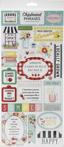 מדבקות צ'יפבורד - Summer Market Chipboard - Phrases