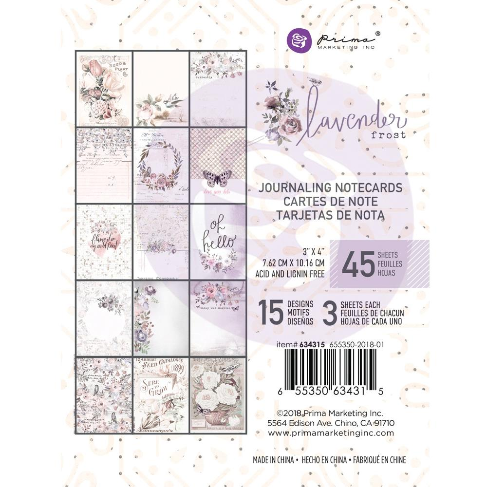 "מארז דפי קארדסטוק ""Lavender Frost Journaling Cards 3""X4"
