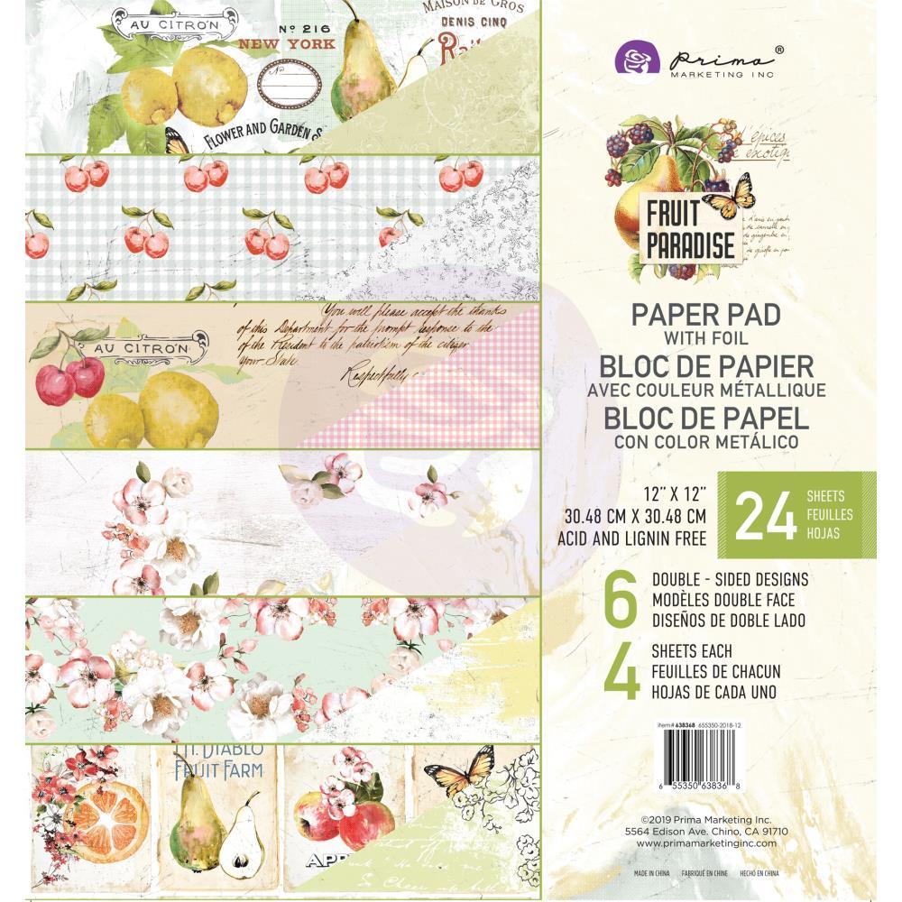 """מארז דפי קארדסטוק """"12 Fruit Paradise Paper Pad"""