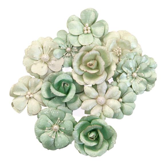 פרחי נייר Mulberry Paper Flowers - Minty Basil