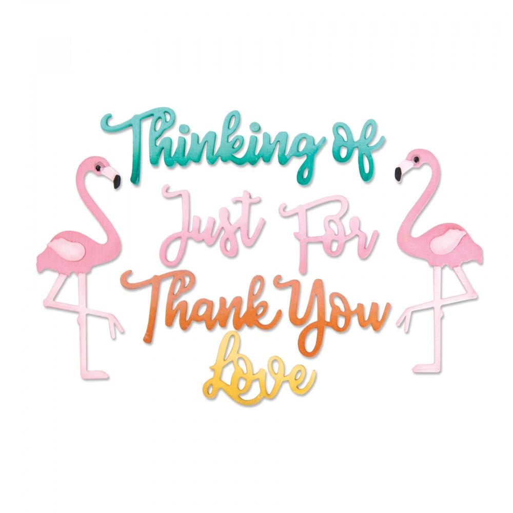 סט תבניות חיתוך-Thinlits Dies - Phrases, Thank You & Flamingo