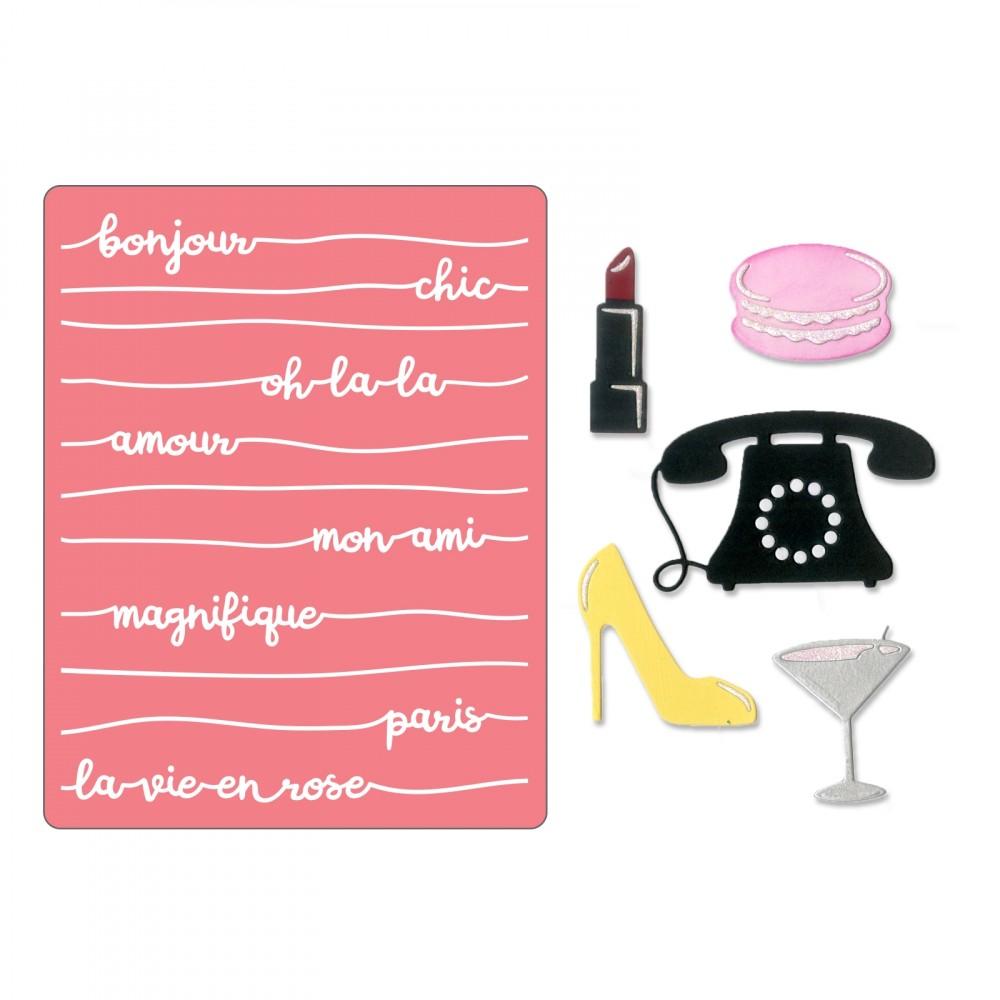 סט תבניות חיתוך והבלטה - Bonjour Chic