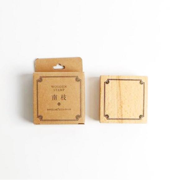 חותמת עץ - מסגרת מרובעת