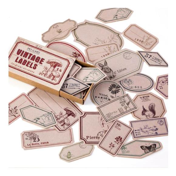 מדבקות - Vintage wild nature labels
