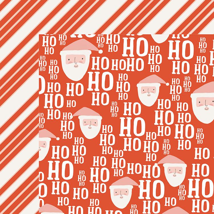 דף קארדסטוק דו צדדי - OH WHAT FUN - Ho Ho Ho