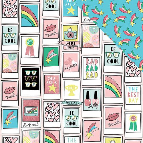 דף קארדסטוק דו צדדי עם פויל- Good Vibes - Pink Polaroid