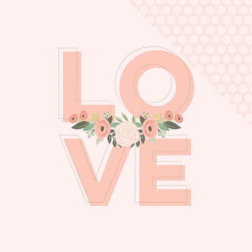 דף קארדסטוק דו צדדי עם פויל- Bliss - Love
