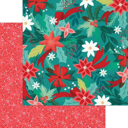 דף קארדסטוק דו צדדי - Jingle All The Way - Poinsettia Pines