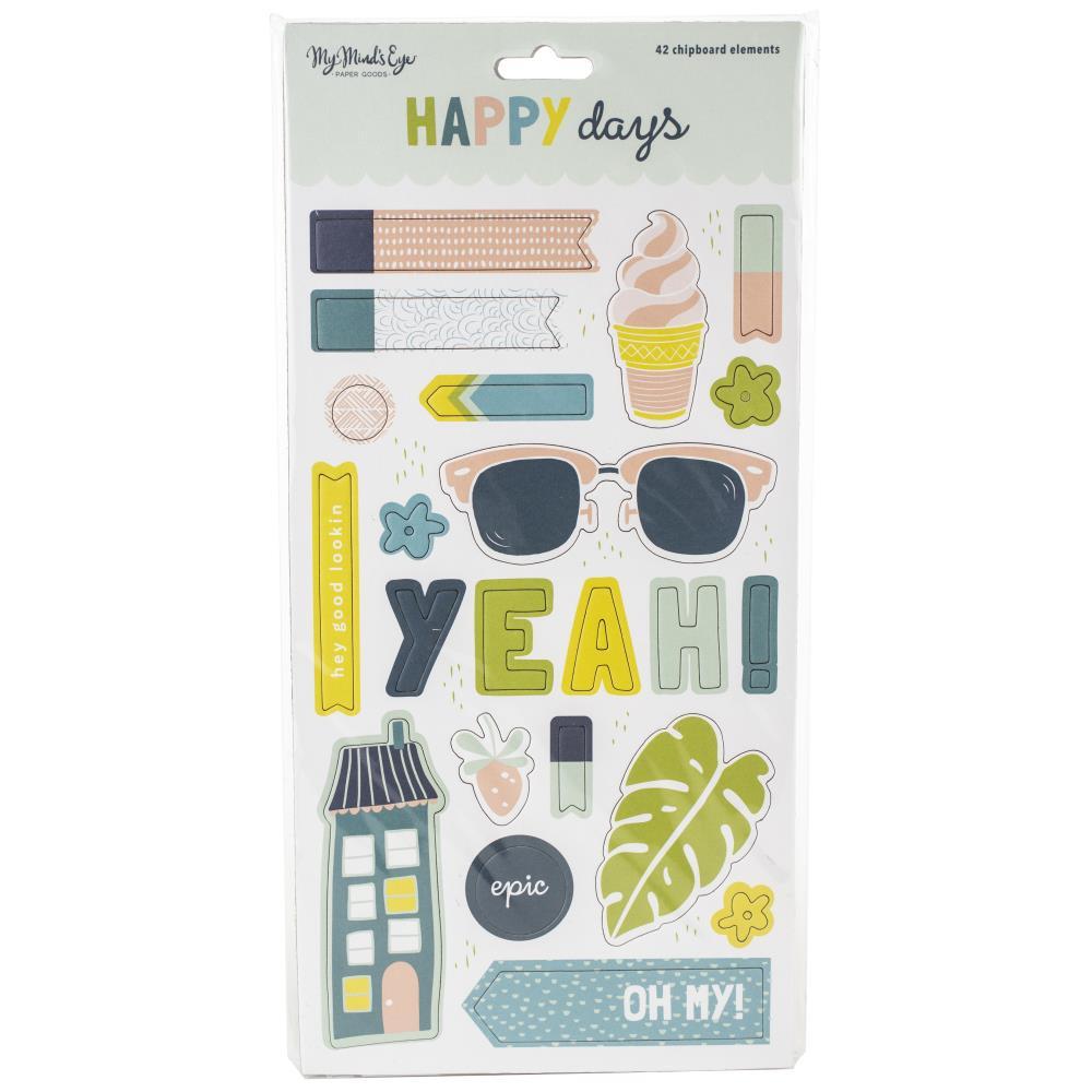 """מדבקות צ'יפבורד - Happy Days 6x12"""" Chipboard"""