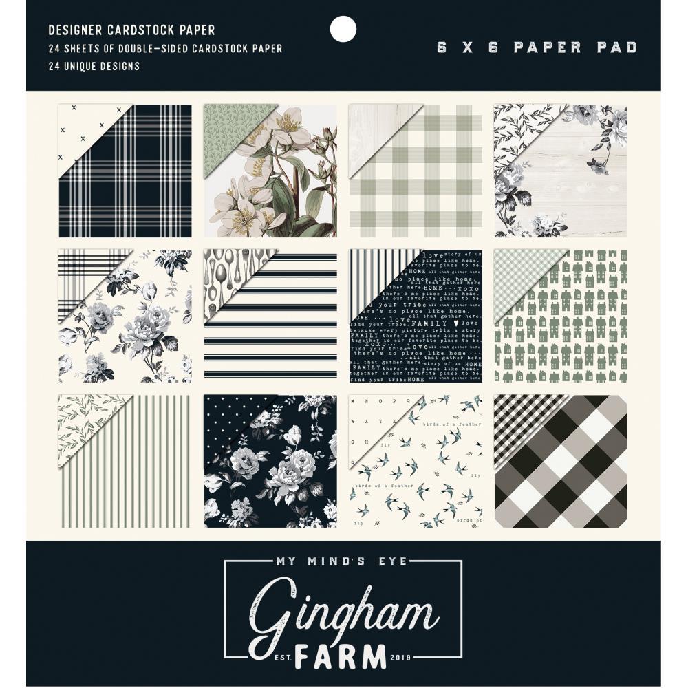"""מארז דפי קארדסטוק """"6 Gingham Farm Paper Pad"""