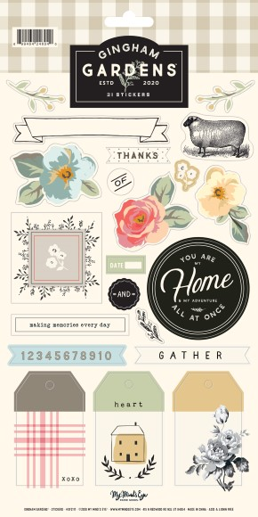מדבקות קארדסטוק Gingham Gardens - Sheet