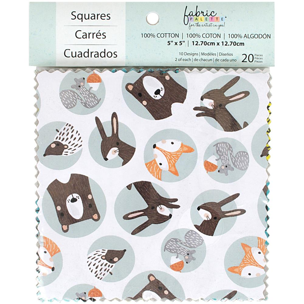 "Fabric Palette Charm Pack 5""X5"" 20Pkg - Forest Friends"