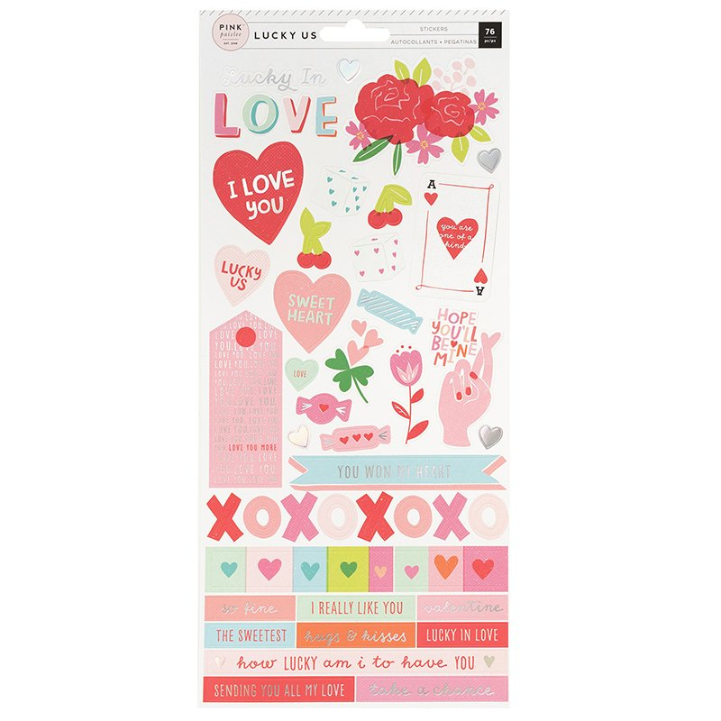 מדבקות קארדסטוק - Lucky Us - Cardstock Stickers with Foil