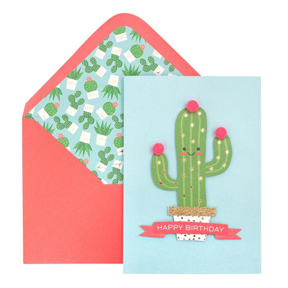 כרטיס ברכה ומעטפה Birthday - Cactus