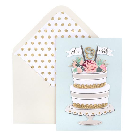 כרטיס ברכה ומעטפה - Mr and Mrs Cake