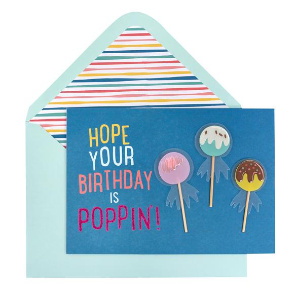 כרטיס ברכה ומעטפה Birthday - Cake Pops