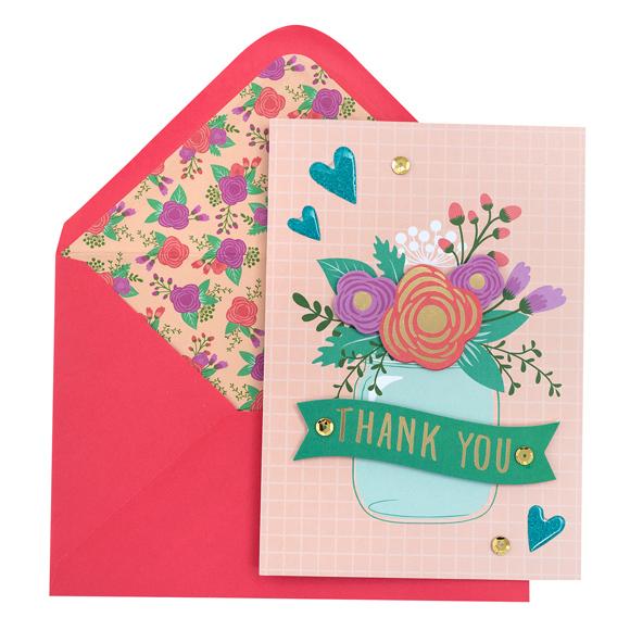 כרטיס ברכה ומעטפה Gratitude - Mason Jar