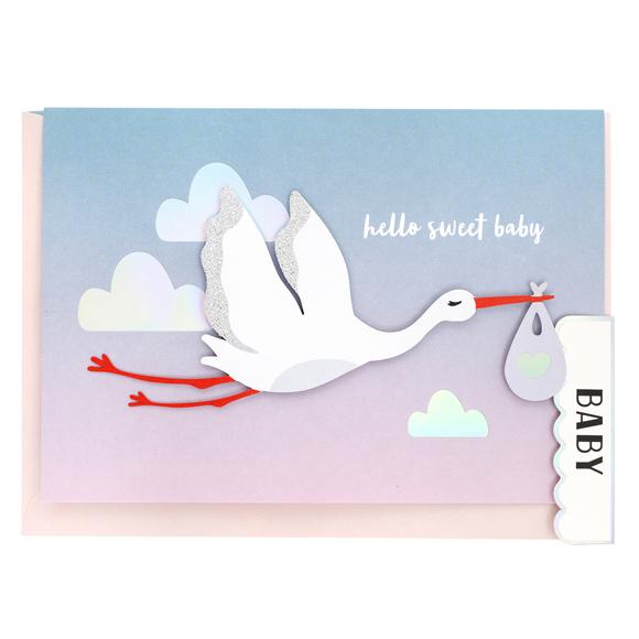 כרטיס ברכה ומעטפה Baby - Stork