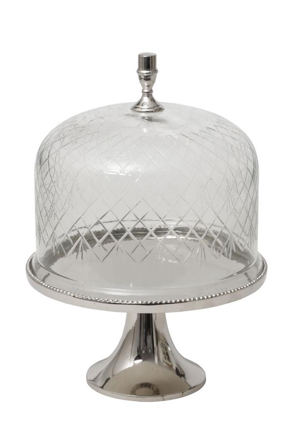 פעמון עוגה מכסה זכוכית על רגל מתכת