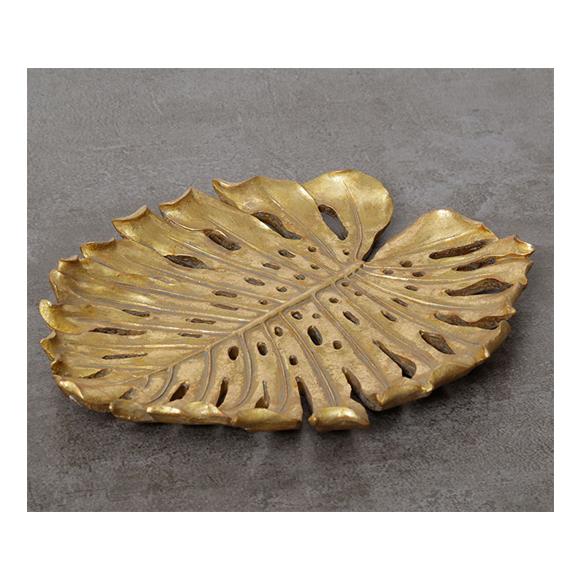 צלחת בצורת עלה - זהב