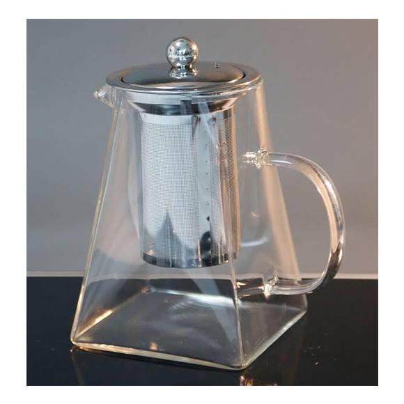 קומקום זכוכית לתה / חליטות - בצבע כסף