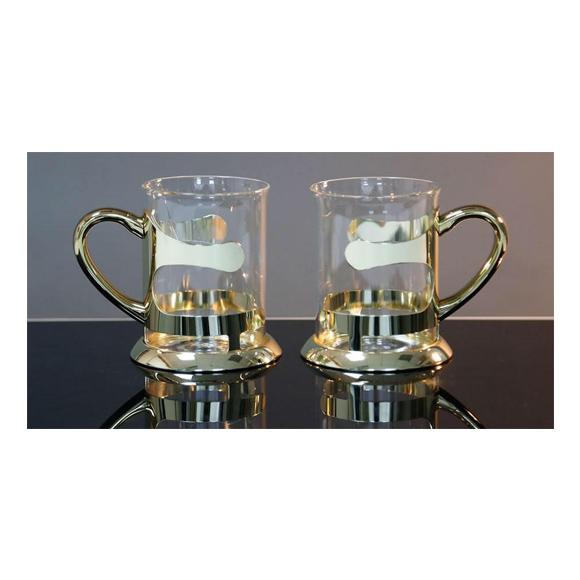 זוג כוסות זכוכית לתה - בצבע זהב