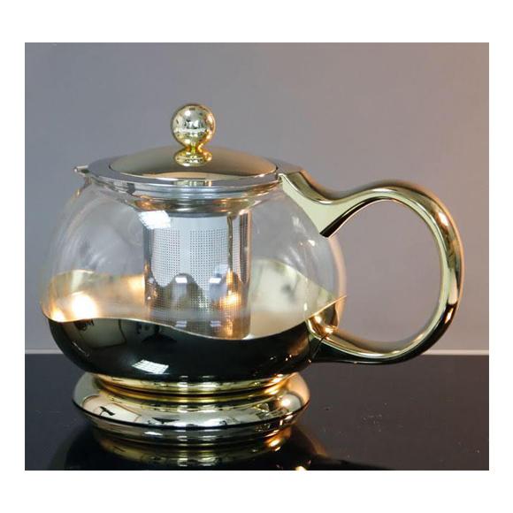 קומקום זכוכית עגול לתה / חליטות - בצבע זהב