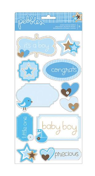 מדבקות קארדסטוק - Baby Boy Accent & Phrase Stickers