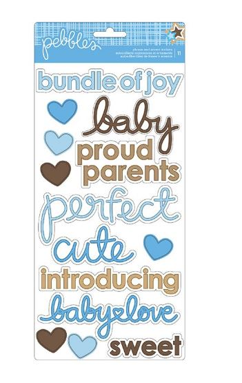 מדבקות קארדסטוק - Baby Boy Accent & Phrase Stickers 2