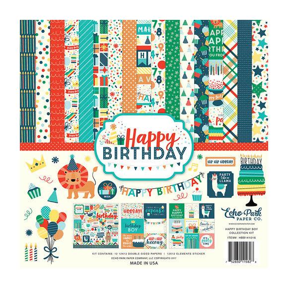 """מארז דפי קארדסטוק """"12 Happy Birthday Boy Kit"""