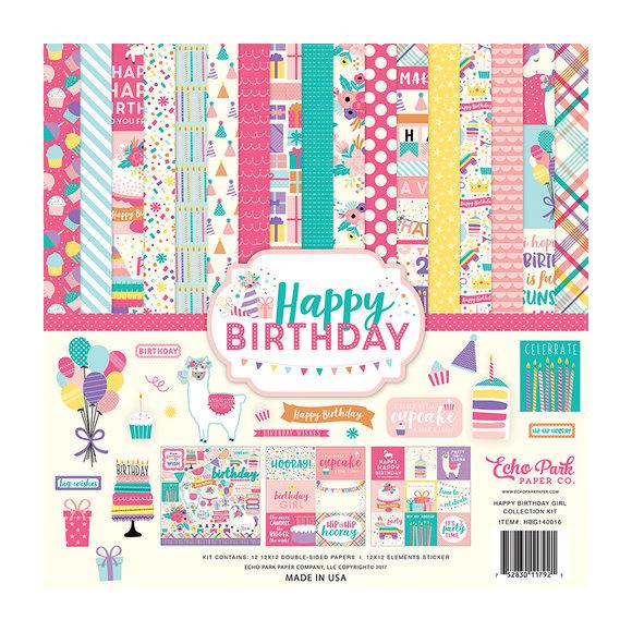 """מארז דפי קארדסטוק """"12 Happy Birthday Girl Kit"""