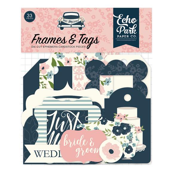 חיתוכי קארדסטוק Just Married - Frames and Tags