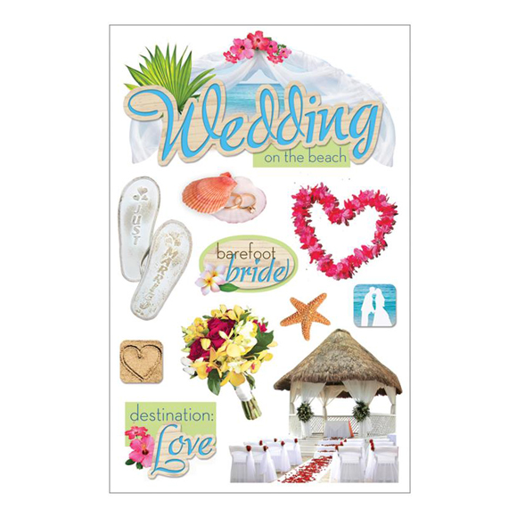 מדבקות - Paper House 3D - Beach Wedding