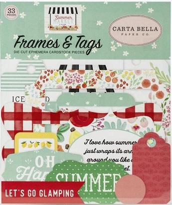 מארז חיתוכי קארדסטוק - Summer Market Cardstock Ephemera - Frames & Tags