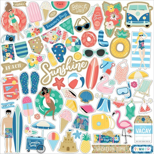 "מדבקות קארדסטוק 12"" - Dive Into Summer Cardstock Stickers - Elements"