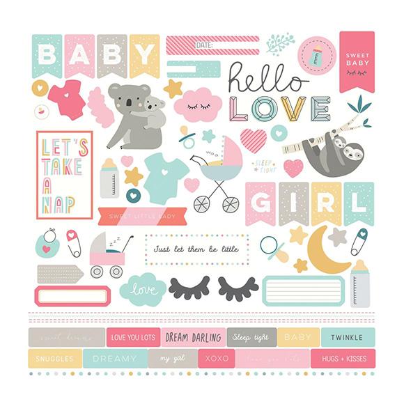 מדבקות קארדסטוק Snuggle Up Collection - Girl