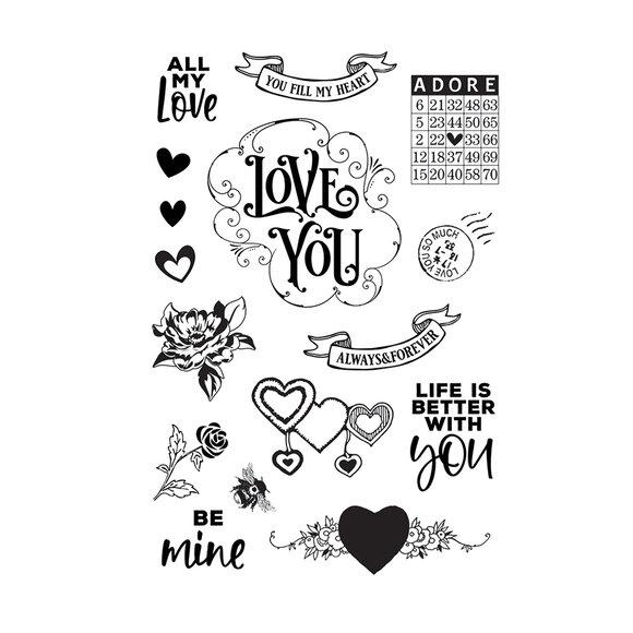 סט חותמות סיליקון - Simple Vintage My Valentine