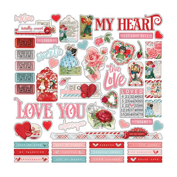 מדבקות קארדסטוק - Simple Vintage My Valentine