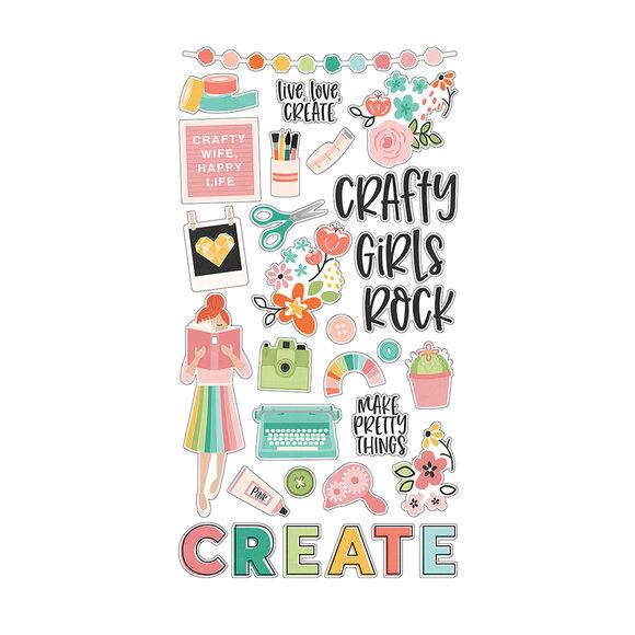 מדבקות צ'יפבורד - Hey Crafty Girl Collection