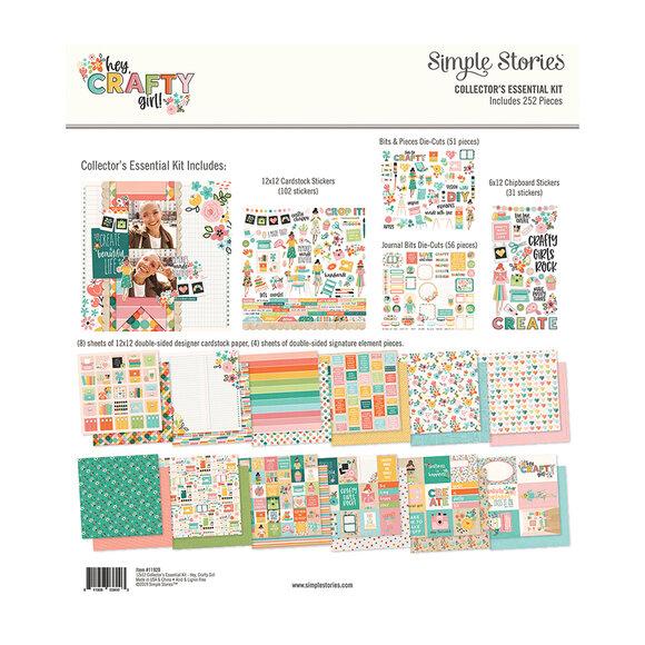 """מארז דפי קארדסטוק """"12 Hey Crafty Girl - Essential Kit"""