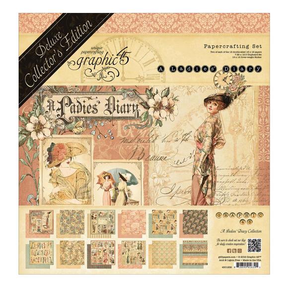 """מארז דפי קארדסטוק """"12 A Ladies' Diary Kit"""