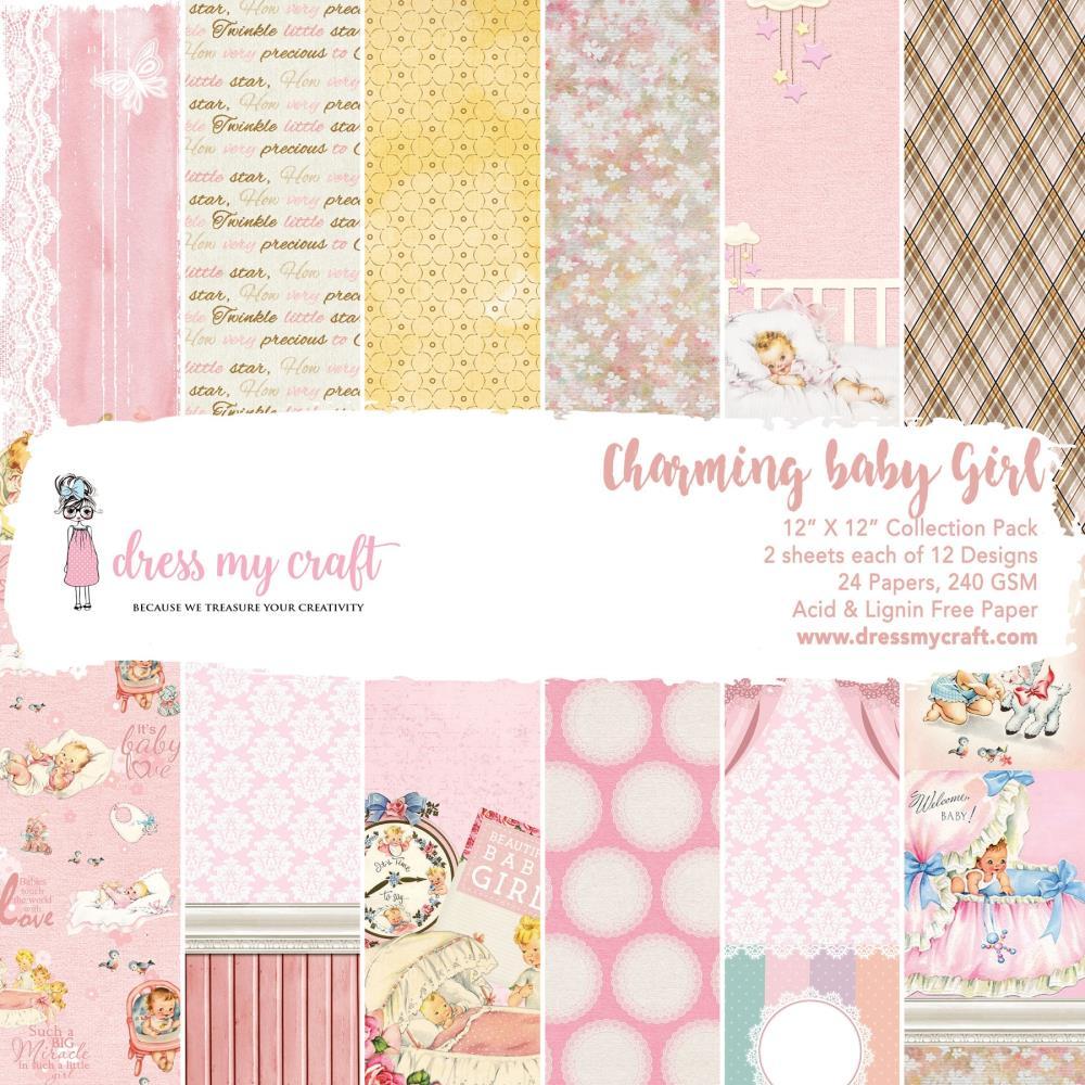 מארז דפי קארדסטוק Charming Baby Girl Paper Pad