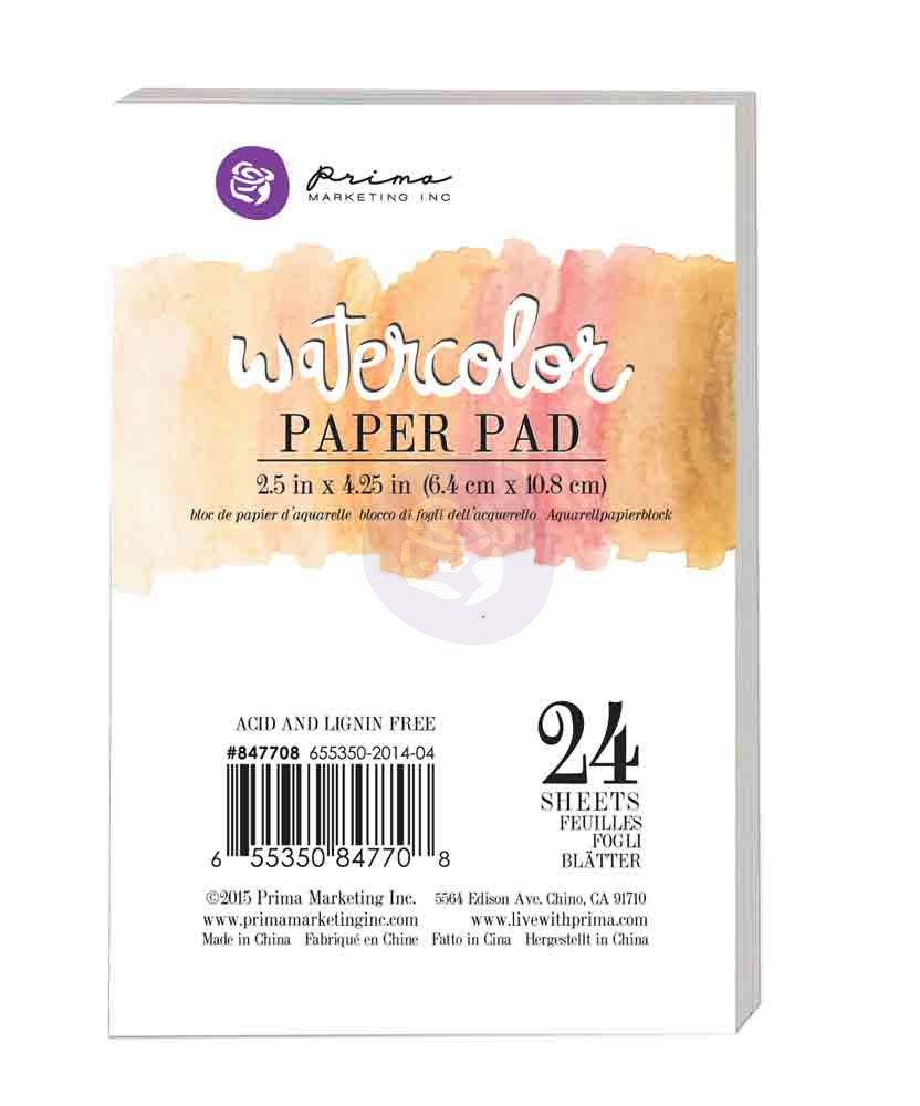 "Watercolor Paper Pad - 2.5""x4.25"""