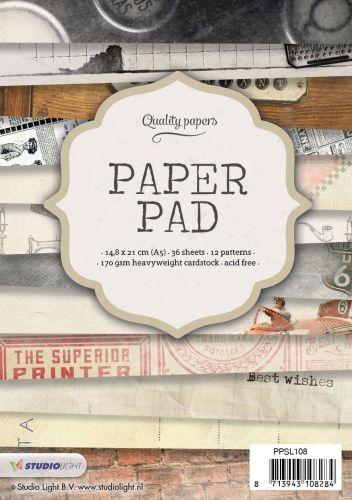 מארז דפי קארדסטוק Paper Pad Bloc - Old time A5