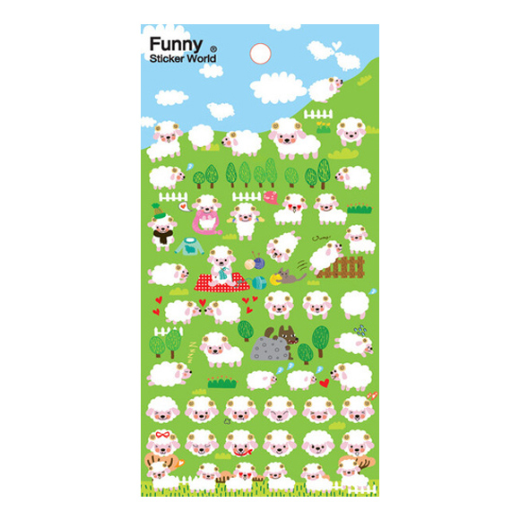 מדבקות פאף Funny Sticker - Lamb Farm