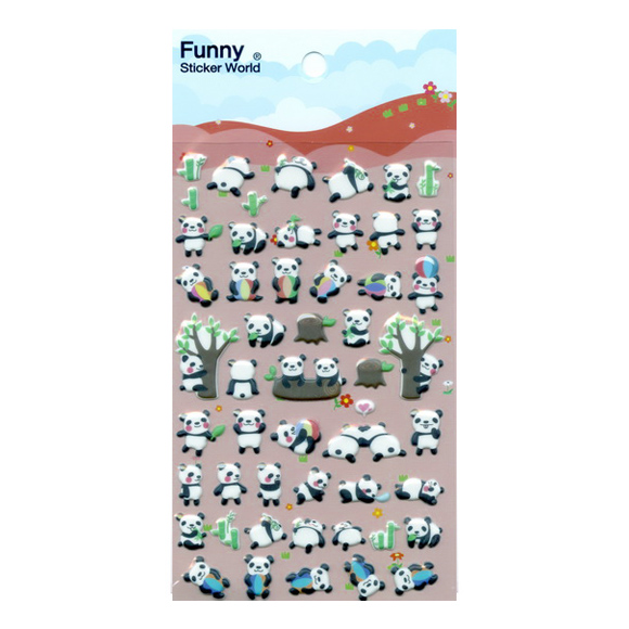 מדבקות פאף Funny Sticker - Panda Ball