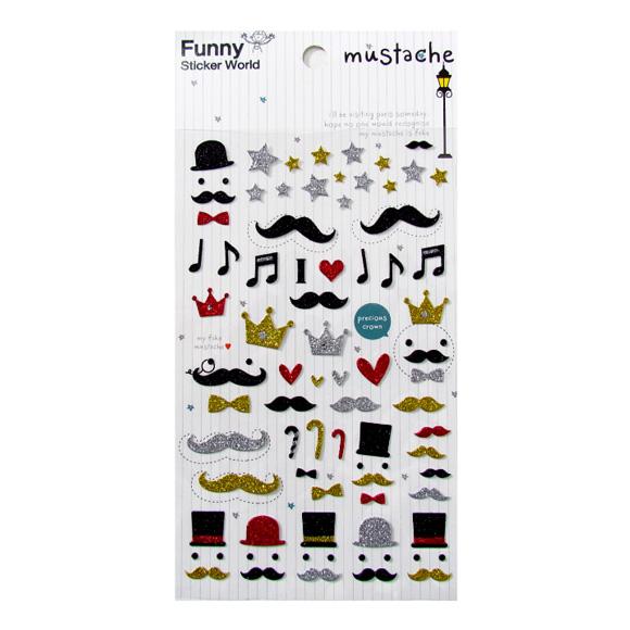 מדבקות נצנצים Funny Sticker -Mustache